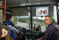 BULGARIEN, 09.2009.Sliven.Diese zentralbulgarische Industriestadt ist einer der wichtigsten Herkunftsorte fuer in Westeuropa arbeitende Prostituierte:.Frauenbilder - Pin-up-girl im Nahverkehrsbus. .This central-bulgarian industrial town is one of the main origins of prostitutes for Western Europe, especially Belgium and Holland:.The image of women - pin-up-girl in local transport bus..© Martin Fejer/EST&OST
