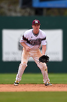 University of the Sciences Devils shortstop Trevor Datz (3) during a game against Slippery Rock on March 6, 2015 at Jack Russell Memorial Stadium in Clearwater, Florida.  Slippery Rock defeated University of the Sciences 6-3.  (Mike Janes/Four Seam Images)