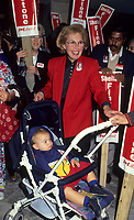 Montreal (Qc) CANADA - File Photo - Sheila Finestone campaigning in October 1993.<br /> <br /> Sheila Finestone passed away Monday June 8 2009 at 82.<br /> <br /> She was elected for the Liberal Party in  the 1984 Canadian election, in the former riding of Pierre-Eliott Trudeau. Later on she was a member of Canada Senate.