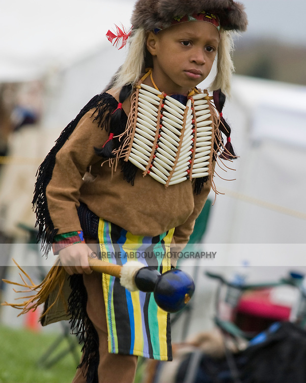 A Native American boy dances at the Healing Horse Spirit PowWow in Mt. Airy, Maryland.