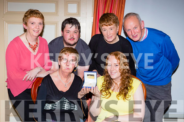 Sharon Fealy Kerry Community Games Youth officer was honoured  at the Kerry Community Games annual awards ceremony in the River Island Hotel on Friday night front row l-r: Margaret Culloty, Sharon Fealy. Back row: Patsy Culloty, Shane Barrett, Mary and James Fealy
