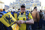Lion of Flanders flags prominent among the 25,000 crowd gathered at sign on before the 101st edition of the Tour of Flanders 2017 running 261km from Antwerp to Oudenaarde, Flanders, Belgium. 26th March 2017.<br /> Picture: Eoin Clarke | Cyclefile<br /> <br /> <br /> All photos usage must carry mandatory copyright credit (&copy; Cyclefile | Eoin Clarke)