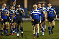 Semesa Rokoduguni and Tom Homer of Bath Rugby after the match. Premiership Rugby Cup match, between Bath Rugby and Gloucester Rugby on February 3, 2019 at the Recreation Ground in Bath, England. Photo by: Patrick Khachfe / Onside Images
