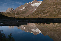 Mont Blanc scenery reflected in the glassy waters of Lac Combal, September 2007
