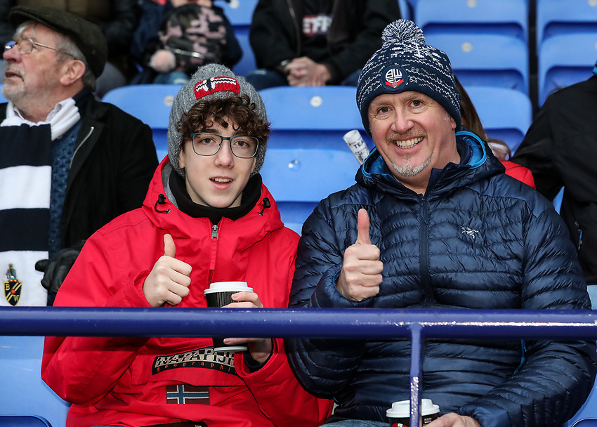 Bolton Wanderers supporters<br /> <br /> Photographer Andrew Kearns/CameraSport<br /> <br /> Emirates FA Cup Third Round - Bolton Wanderers v Walsall - Saturday 5th January 2019 - University of Bolton Stadium - Bolton<br />  <br /> World Copyright © 2019 CameraSport. All rights reserved. 43 Linden Ave. Countesthorpe. Leicester. England. LE8 5PG - Tel: +44 (0) 116 277 4147 - admin@camerasport.com - www.camerasport.com
