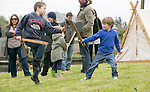 Finn & Conn O'Flynn from Wexford Brian Boru young warriors practise their skills in fighting in the Re-Enactment Camp at The Brian Boru Festival in Killaloe/Ballina during the Commemoration Weekend.<br /> Pictured Credit Brian Gavin Press 22