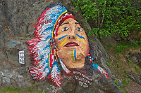 Rock painting by artists G. Santerre (1963), RIviere du Loup, Quebec, Canada