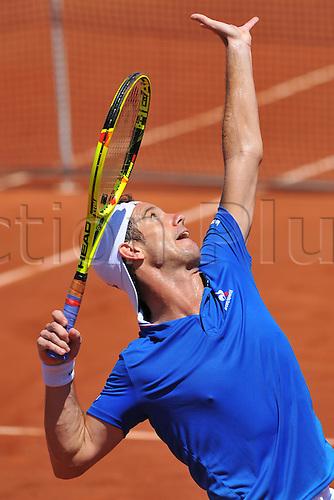 06.03.2016. Vélodrome Amédée Detraux, Guadeloupe, France. Davis Cup 1st round. France versus Canada.  Richard Gasquet (Fra) serves