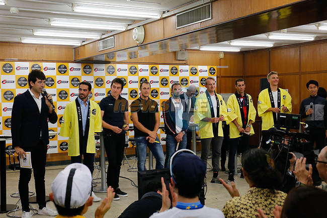 Alberto Contador (ESP), Geraint Thomas (WAL), Matteo Trentin (ITA), Alejandro Valverde (ESP), Alexander Kristoff (NOR), Vincenzo Nibali (ITA) and Marcel Kittel (GER) at the media day before the 2018 Saitama Criterium, Japan. 3rd November 2018.<br /> Picture: ASO/Yuzuru Sunada | Cyclefile<br /> <br /> <br /> All photos usage must carry mandatory copyright credit (&copy; Cyclefile | ASO/Yuzuru Sunada)