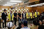 Alberto Contador (ESP), Geraint Thomas (WAL), Matteo Trentin (ITA), Alejandro Valverde (ESP), Alexander Kristoff (NOR), Vincenzo Nibali (ITA) and Marcel Kittel (GER) at the media day before the 2018 Saitama Criterium, Japan. 3rd November 2018.<br /> Picture: ASO/Yuzuru Sunada | Cyclefile<br /> <br /> <br /> All photos usage must carry mandatory copyright credit (© Cyclefile | ASO/Yuzuru Sunada)