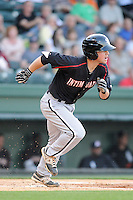 Infielder Tyler Shryock (2) of the Kannapolis Intimidators bats in a game against the Greenville Drive on Friday, April 11, 2014, at Fluor Field at the West End in Greenville, South Carolina. Greenville won, 13-2. (Tom Priddy/Four Seam Images)