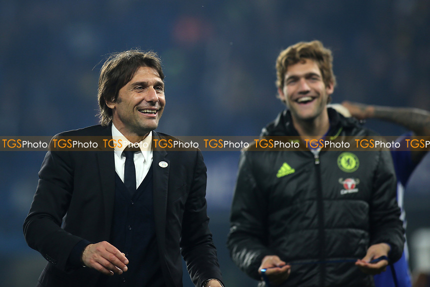Chelsea Manager, Antonio Conte celebrates at the final whistle as Marcos Alonson looks on during Chelsea vs Watford, Premier League Football at Stamford Bridge on 15th May 2017
