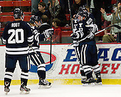 Jesse Root (Yale - 20), Tommy Fallen (Yale - 22), Andrew Miller (Yale - 17) - The Yale University Bulldogs defeated the Harvard University Crimson 5-1 on Saturday, November 3, 2012, at Bright Hockey Center in Boston, Massachusetts.