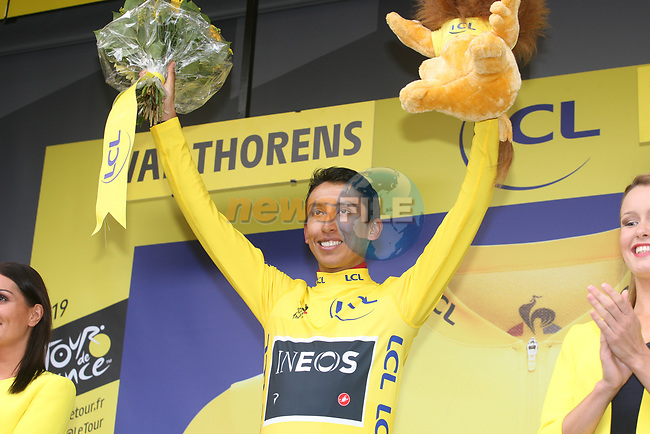 Race leader Yellow Jersey Egan Bernal (COL) Team Ineos on the podium knowing that he has just won the overall general classification at the end of Stage 20 of the 2019 Tour de France running 59.5km from Albertville to Val Thorens, France. 27th July 2019.<br /> Picture: Colin Flockton | Cyclefile<br /> All photos usage must carry mandatory copyright credit (© Cyclefile | Colin Flockton)