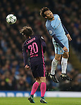David Silva of Manchester City gets above Sergi Roberto of Barcelona during the Champions League Group C match at the Etihad Stadium, Manchester. Picture date: November 1st, 2016. Pic Simon Bellis/Sportimage