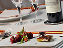 10/05/11 - SAINT PRIEST BRAMEFANT - PUY DE DOME - FRANCE - Chateau de Maulmont, hotel 3 etoiles. Castle of Maulmont in France, french quality hotel. Escalope de foie gras de canard, gelee et chutney de fraise - Photo Jerome CHABANNE