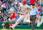 6 June 2010: Cincinnati Reds' third baseman Scott Rolen rounds the bases and comes home after hitting a dinger against the Washington Nationals at Nationals Park in Washington, DC. The Reds edged out the Nationals 5-4 in a ten inning game. Mandatory Credit: Ed Wolfstein Photo
