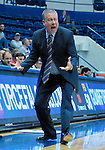 January 11, 2017:  Air Force head coach, Dave Pilipovich, reacts to a call during the NCAA basketball game between the Fresno State Bulldogs and the Air Force Academy Falcons, Clune Arena, U.S. Air Force Academy, Colorado Springs, Colorado.  Air Force defeats Fresno State 81-72.