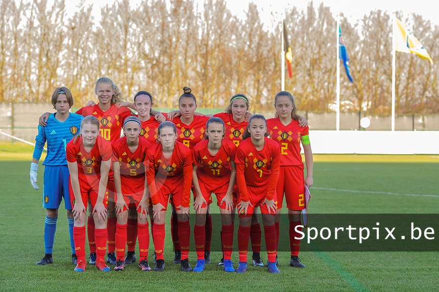 20191204 - TUBEKE , BELGIUM : Belgians (11) Fien Broeckaert, (10) Lore Jacobs , (9) Coline D'Haeyer , (8) Iman Galai , (7) Anouck Bergen , (6) Yara Tassens , (5) Saar Janssen , (4) Lore Schoovaerts , (3) Emely Schapdryver , (1) Lise Van Gemert  , (2) Tinne Broeckaert pictured during the international friendly female soccer game between the Belgian Flames U15 and Germany , Wednesday 4 th December 2019 at the Belgian Football Centre, Tubeke / Tubize , Belgium. PHOTO SPORTPIX.BE | STIJN AUDOOREN