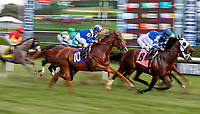 First time by as Hizeem (no. 10) wins Race 8, Sep. 1, 2018 at the Saratoga Race Course, Saratoga Springs, NY.  Ridden by Javier Castellano and trained by Chad Brown, Hizeem was placed first after a steward's inquiry and jocky's objection.  Stewards concluded that the first and second place finishers (Final Frontier, no. 8, and Strike Me Down, no. 4,  both interfered with Hizeem who ran between the top two in deep stretch.  (Bruce Dudek/Eclipse Sportswire)