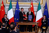 Wang Yi and Luigi Di Maio, agreement between Italian and Chinese Governments called 'The silk way'<br /> Rome March 23rd 2019. The President of the Chinese Democratic Republic visits the Italian Premier to sign economic agreements at Villa Madama.<br /> photo di Samantha Zucchi/Insidefoto