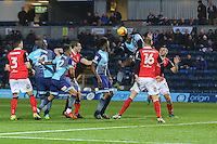 Aaron Pierre of Wycombe Wanderers  (3rd right) scores the opening goal of the game during the Sky Bet League 2 match between Wycombe Wanderers and Morecambe at Adams Park, High Wycombe, England on 12 November 2016. Photo by David Horn.