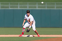 Surprise Saguaros second baseman Andy Young (29), of the St. Louis Cardinals organization, waits to receive a throw during an Arizona Fall League game against the Peoria Javelinas at Surprise Stadium on October 17, 2018 in Surprise, Arizona. (Zachary Lucy/Four Seam Images)