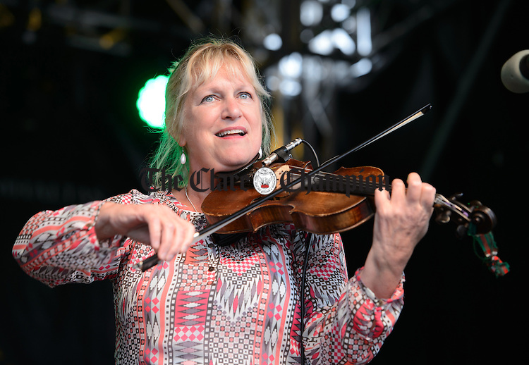 Korona Brophy of the Celtic Fiddlers Canada  performing in Abbey Street car park during Fleadh Cheoil na hEireann in Ennis. Photograph by John Kelly.