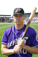 May 11, 2005:  First Round Draft Pick, Michael Aubrey of the Akron Aeros before a game at Jerry Uht Park in Erie, PA.  Akron is the Double-A Eastern League affiliate of the Cleveland Indians.  Photo By Mike Janes/Four Seam Images