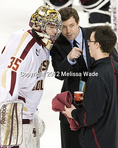 Parker Milner (BC - 35), Tim Clark (BC - SID), Tom Maguire (BC - Manager) - The Boston College Eagles defeated the Providence College Friars 7-0 on Saturday, February 25, 2012, at Kelley Rink at Conte Forum in Chestnut Hill, Massachusetts.