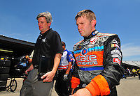 May 30, 2008; Dover, DE, USA; Nascar Sprint Cup Series driver Scott Riggs (right) with interm crew chief Matt Borland during practice for the Best Buy 400 at the Dover International Speedway. Mandatory Credit: Mark J. Rebilas-US PRESSWIRE