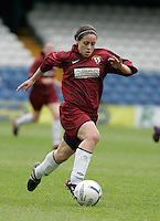 09 MAY 2007 - LONDON, UK - Nicole Emmanuel - Loughborough University (Maroon) v Brighton University (Purple) - BUSA Womens Football Championships. (PHOTO (C) NIGEL FARROW)