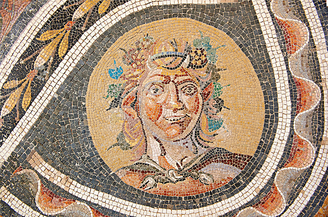 Floor mosaic with satyr heads and pan.  From a Roman villa which probably belonged to Marcus Aurelius and Lucius Verus. Genazzano. Circo 138-192 AD. National Roman Museum, Rome, Italy