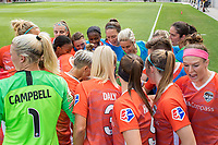 Houston, TX - Sunday March 25, 2018: Houston Dash team huddle during a regular season National Women's Soccer League (NWSL) match between the Houston Dash and the Chicago Red Stars at BBVA Compass Stadium. The game ended in a 1-1 draw.