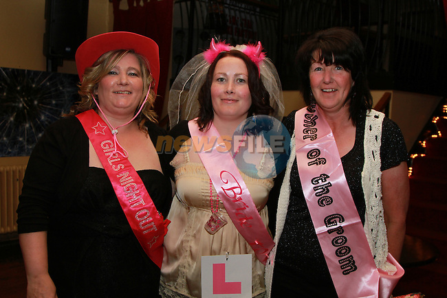 Marian Connolly with her bridesmaid Martina McEvoy and mother of the groom Mary Coyle at her Hen Party in the Star and Crescent...(Photo credit should read Jenny Matthews www.newsfile.ie)....This Picture has been sent you under the conditions enclosed by:.Newsfile Ltd..The Studio,.Millmount Abbey,.Drogheda,.Co Meath..Ireland..Tel: +353(0)41-9871240.Fax: +353(0)41-9871260.GSM: +353(0)86-2500958.email: pictures@newsfile.ie.www.newsfile.ie.