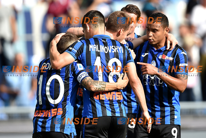 Luis Muriel of Atalanta BC celebrates with team mates after scoring the goal of 0-1 for his side <br /> Roma 19-10-2019 Stadio Olimpico <br /> Football Serie A 2019/2020 <br /> SS Lazio - Atalanta<br /> Foto Andrea Staccioli / Insidefoto