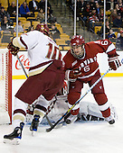 Jimmy Hayes (BC - 10), Ryan Grimshaw (Harvard - 6) - The Boston College Eagles defeated the Harvard University Crimson 6-0 on Monday, February 1, 2010, in the first round of the 2010 Beanpot at the TD Garden in Boston, Massachusetts.