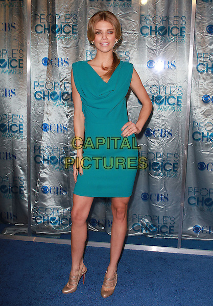 ANNALYNNE McCORD .2011 People's Choice Awards held at Nokia Theatre L.A. Live, Los Angeles, California, USA, 5th January 2011..full length green dress hand on hip gold shoes slingbacks .CAP/ADM/KB.©Kevan Brooks/AdMedia/Capital Pictures.