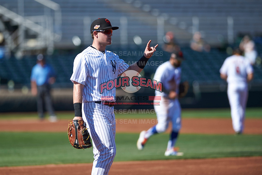 Scottsdale Scorpions first baseman Billy McKinney (53), of the New York Yankees organization, during an Arizona Fall League game against the Surprise Saguaros on October 27, 2017 at Scottsdale Stadium in Scottsdale, Arizona. The Scorpions defeated the Saguaros 6-5. (Zachary Lucy/Four Seam Images)