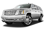 Low aggressive front three quarter view of a 2013 Cadillac Escalade ESV