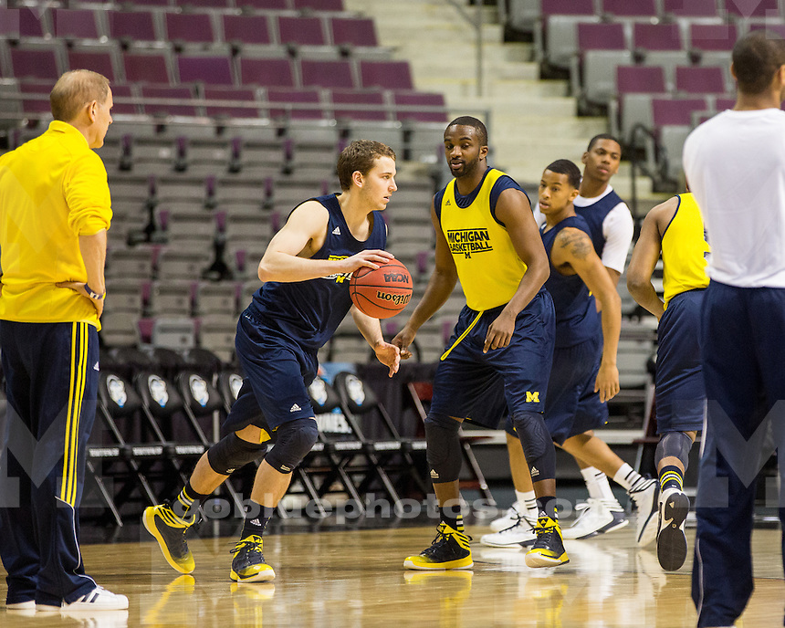 The University of Michigan men's basketball team during practice and media day at the Palace of Auburn Hills in Auburn Hills, Mich., on March 22, 2013.