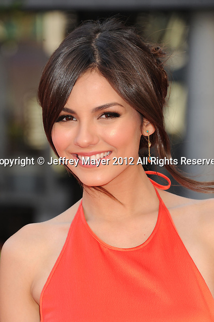 LOS ANGELES, CA - SEPTEMBER 15: Victoria Justice arrives at the 2012 Primetime Creative Arts Emmy Awards at Nokia Theatre L.A. Live on September 15, 2012 in Los Angeles, California.
