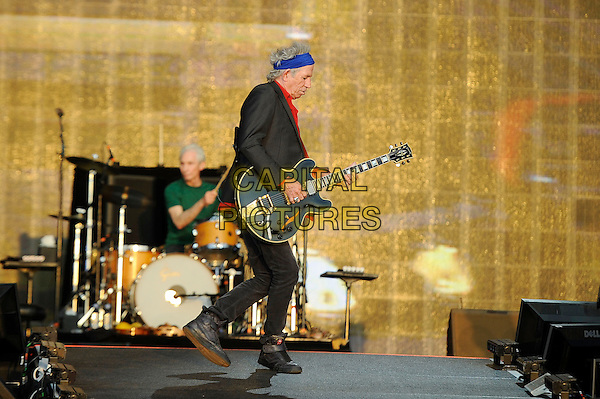 Keith Richards of The Rolling Stones <br /> performing at Barclaycard British Summertime, Hyde Park, London, England, UK, <br /> 13th July 2013.<br /> music concert gig festival live on stage  full length side playing guitar <br /> CAP/MAR <br /> &copy; Martin Harris/Capital Pictures