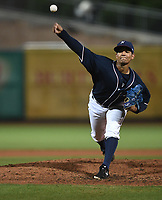 NWA Democrat-Gazette/J.T. WAMPLER Naturals' Gerson Garabito pitches against the Travelers Monday June 3, 2019 at Arvest Ballpark in Springdale.