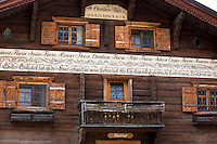 Gasthof Gotschna restaurant, 19th Century built 1841, in Serneus near Klosters in Graubunden region, Switzerland
