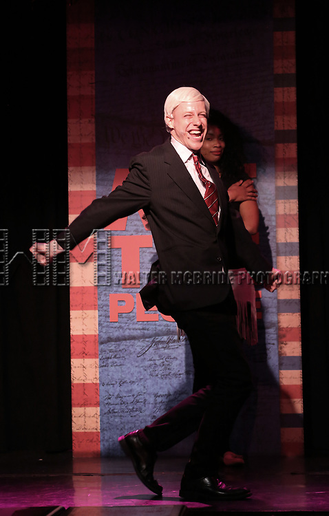 Mitchel Kawash perform onstage during the 'ME THE PEOPLE: The Trump America Musical' Press Preview Presentation at The Triad Theater on June 21, 2017 in New York City.