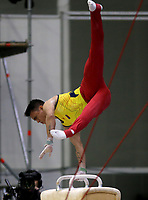 BARRANQUILLA - COLOMBIA, 23-07-2018: Jossimar Calvo de Colombia durante su participación en gimnasia hombres modalidad caballo con arcos como parte de los Juegos Centroamericanos y del Caribe Barranquilla 2018. /  Jossimar Calvo of Colombia during his participation in gymnastics men's pommel horse category as a part of the Central American and Caribbean Sports Games Barranquilla 2018. Photo: VizzorImage / Cont