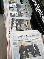New York newspapers on Friday, November 11, 2016 report on the previous day's meeting between President Barack Obama and President-elect Donald Trump.  (© Richard B. Levine)