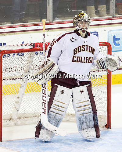 Parker Milner (BC - 35) - The Boston College Eagles defeated the visiting Boston University Terriers 5-2 on Saturday, December 1, 2012, at Kelley Rink in Conte Forum in Chestnut Hill, Massachusetts.