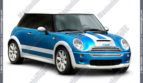 Stock photo of a Blue Mini with white stripes Small retro style car Isolated on white background with a clipping path